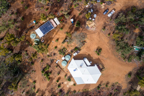 Overhead view of Quindanning showing PV array